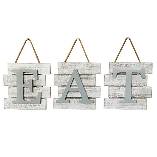 Barnyard Designs Eat Sign Wall Decor Rustic Farmhouse Decoration For Kitchen And Home Decorative Hanging Wooden Letters Country Wall Art Distressed White And Gray 24 X 8 0