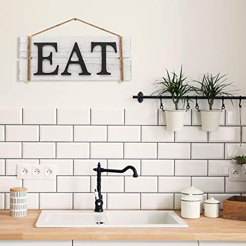 Barnyard Designs Eat Wood Wall Art Sign Rustic Primitive Farmhouse Country Kitchen And Home Wall Decor 17 X 7 0 1