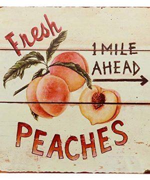 Barnyard Designs Fresh Peaches Retro Vintage Tin Bar Sign Country Home Decor 11 X 11 0 300x360