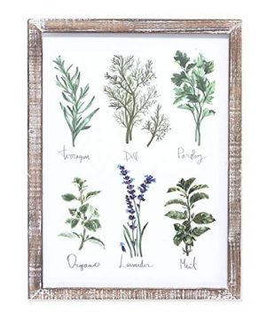 Barnyard Designs Kitchen Herbs And Spices Wall Art Decor Botanical Print Sign Rustic Country Farmhouse Wood Plaque Framed Home Wall Decor 16 X 12 0 300x360