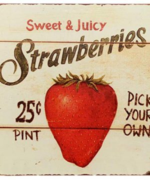 Barnyard Designs Strawberries Pick Your Own Retro Vintage Tin Bar Sign Country Home Decor 11 X 11 0 300x360