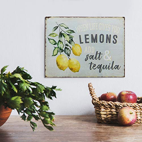 Barnyard Designs When Life Gives You Lemons Add Salt Tequila Funny Retro Vintage Tin Bar Sign Country Home Decor 13 X 10 0 0
