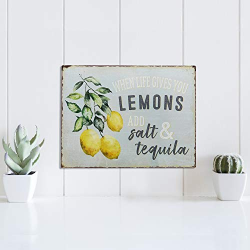 Barnyard Designs When Life Gives You Lemons Add Salt Tequila Funny Retro Vintage Tin Bar Sign Country Home Decor 13 X 10 0 1