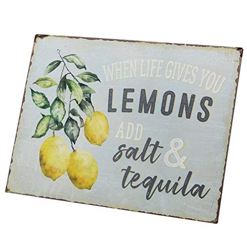 Barnyard Designs When Life Gives You Lemons Add Salt Tequila Funny Retro Vintage Tin Bar Sign Country Home Decor 13 X 10 0 2