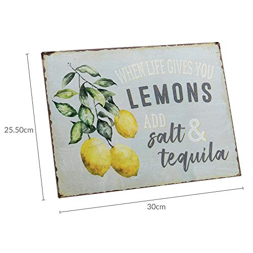 Barnyard Designs When Life Gives You Lemons Add Salt Tequila Funny Retro Vintage Tin Bar Sign Country Home Decor 13 X 10 0 4
