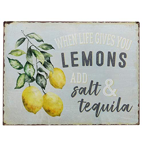 Barnyard Designs When Life Gives You Lemons Add Salt Tequila Funny Retro Vintage Tin Bar Sign Country Home Decor 13 X 10 0