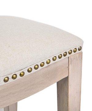 Barton Premium Set Of 2 Isabel Padded Counter Saddle Backless IndoorOutdoor Bar Stool Nailhead 24 Height Cushion Seat Footrest Beige 0 2 300x360