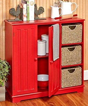Beadboard Buffet Cabinet Sideboard With Storage Red 0 300x360