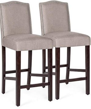 Best Choice Products Set Of 2 30in Contemporary Upholstered Linen Counter Height Armless Backed Accent Breakfast Bar Stool Chairs For Dining Room Kitchen Bar WStudded Nail Head Trim Beige 0 300x360
