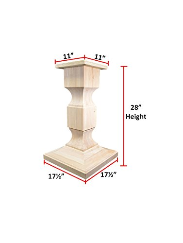 BingLTD 28 Tall Chelsea Square Pedestal Table Base WH Chelsea28 UNF 0 3