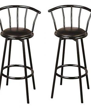 Black 30 Inch Swivel Bar Stools Set Of 2 Casual Modern Contemporary Faux Leather Metal Finish Footrest 0 300x360