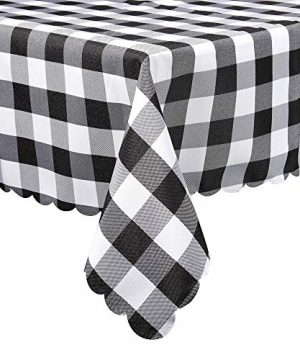 Black And White Buffalo Plaid Square Tablecloth Checkered Gingham Buffalo Washable Polyester Tablecloth 36 X 36 Inch Home Kitchen Dinner Parties Indoor Outdoor Buffet Tablecloth Table Cover 0 300x360