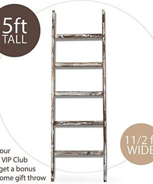 Blanket Ladder 5 Ft Rustic Wooden Decorative Wood Farm Decor Rack For Throw Towel Quilt Blankets Holder Storage Display Shelf Leaning Old Antique White Farmhouse Wall Ladders House Decorations 0 0 300x360