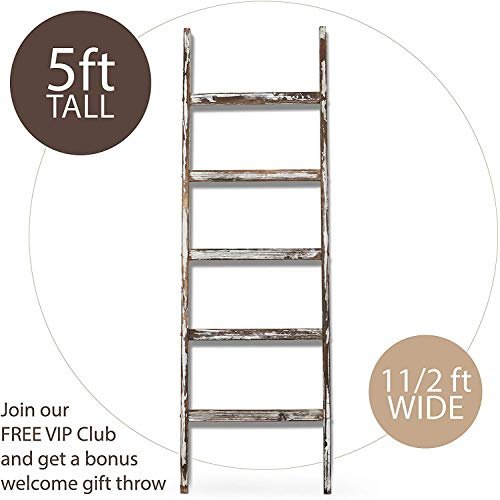Blanket Ladder 5 Ft Rustic Wooden Decorative Wood Farm Decor Rack For Throw Towel Quilt Blankets Holder Storage Display Shelf Leaning Old Antique White Farmhouse Wall Ladders House Decorations 0 0