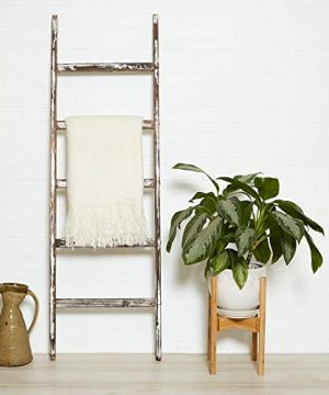 Blanket Ladder 5 Ft Rustic Wooden Decorative Wood Farm Decor Rack For Throw Towel Quilt Blankets Holder Storage Display Shelf Leaning Old Antique White Farmhouse Wall Ladders House Decorations 0 1 300x360