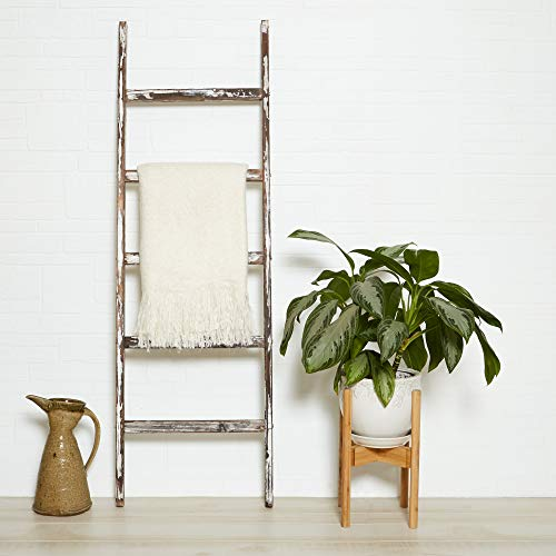 Blanket Ladder 5 Ft Rustic Wooden Decorative Wood Farm Decor Rack For Throw Towel Quilt Blankets Holder Storage Display Shelf Leaning Old Antique White Farmhouse Wall Ladders House Decorations 0 1