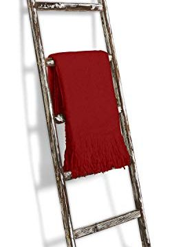 Blanket Ladder 5 Ft Rustic Wooden Decorative Wood Farm Decor Rack For Throw Towel Quilt Blankets Holder Storage Display Shelf Leaning Old Antique White Farmhouse Wall Ladders House Decorations 0 250x360