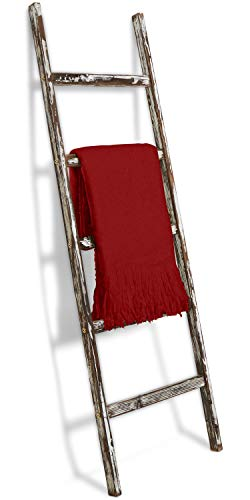 Blanket Ladder 5 Ft Rustic Wooden Decorative Wood Farm Decor Rack For Throw Towel Quilt Blankets Holder Storage Display Shelf Leaning Old Antique White Farmhouse Wall Ladders House Decorations 0