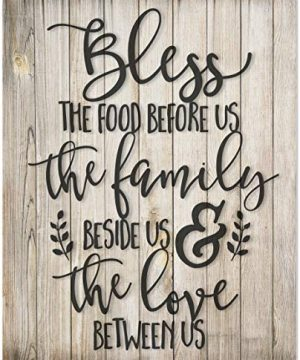 Bless The Food Before Us Rustic Wood Style Wall Sign 12x15 0 300x360