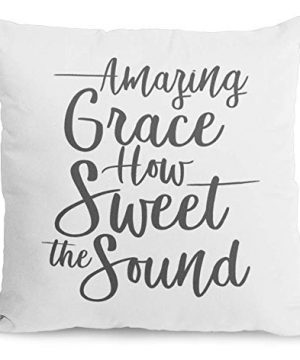 Bonnie Jeans Homestead Prints Farmhouse Throw Pillow Amazing Grace How Sweet The Sound Home Decor White 20x20 In 0 300x360