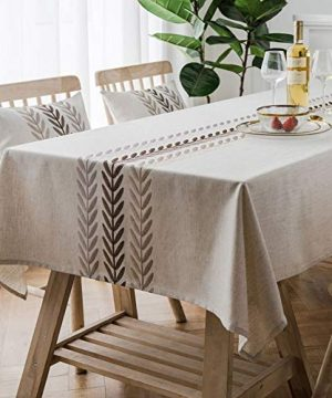 Bringsine Embroidery Wheat Ear Tablecloth Heavy Weight Cotton Linen Fabric Dust Proof Water Proof Table Cloth Cover For Kitchen Dinning Tabletop Decoration RectangleOblong 53 X 53 Inch Linen 0 300x360