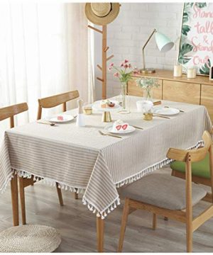 Bringsine Stripe Tassel Tablecloth Cotton Linen Stain Resistant Dust Proof Table Cloth Cover For Kitchen Dinning Tabletop Decoration RectangleOblong55 X 55 Inch Beige 0 0 300x360