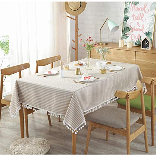 Bringsine Stripe Tassel Tablecloth Cotton Linen Stain Resistant Dust Proof Table Cloth Cover For Kitchen Dinning Tabletop Decoration RectangleOblong55 X 55 Inch Beige 0 0