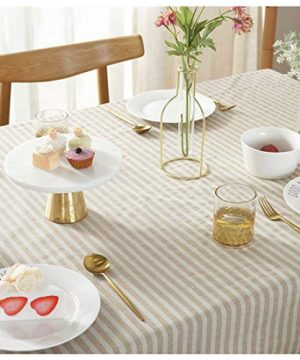 Bringsine Stripe Tassel Tablecloth Cotton Linen Stain Resistant Dust Proof Table Cloth Cover For Kitchen Dinning Tabletop Decoration RectangleOblong55 X 55 Inch Beige 0 1 300x360