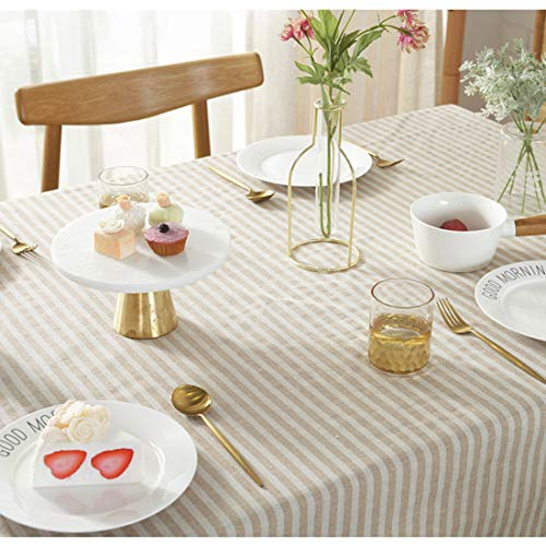 Bringsine Stripe Tassel Tablecloth Cotton Linen Stain Resistant Dust Proof Table Cloth Cover For Kitchen Dinning Tabletop Decoration RectangleOblong55 X 55 Inch Beige 0 1