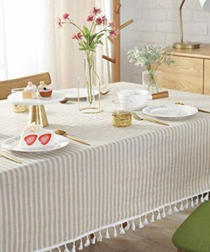 Bringsine Stripe Tassel Tablecloth Cotton Linen Stain Resistant Dust Proof Table Cloth Cover For Kitchen Dinning Tabletop Decoration RectangleOblong55 X 55 Inch Beige 0 2 300x360