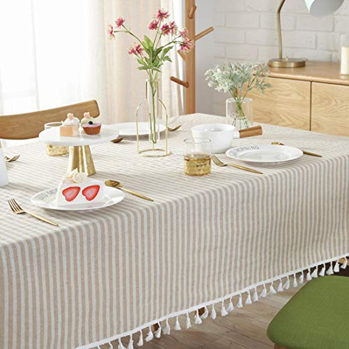 Bringsine Stripe Tassel Tablecloth Cotton Linen Stain Resistant Dust Proof Table Cloth Cover For Kitchen Dinning Tabletop Decoration RectangleOblong55 X 55 Inch Beige 0 2