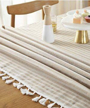 Bringsine Stripe Tassel Tablecloth Cotton Linen Stain Resistant Dust Proof Table Cloth Cover For Kitchen Dinning Tabletop Decoration RectangleOblong55 X 55 Inch Beige 0 3 300x360