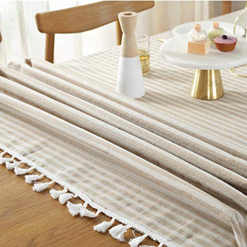 Bringsine Stripe Tassel Tablecloth Cotton Linen Stain Resistant Dust Proof Table Cloth Cover For Kitchen Dinning Tabletop Decoration RectangleOblong55 X 55 Inch Beige 0 3