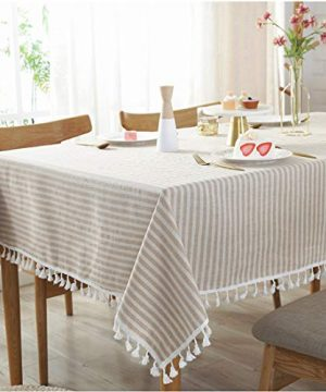 Bringsine Stripe Tassel Tablecloth Cotton Linen Stain Resistant Dust Proof Table Cloth Cover For Kitchen Dinning Tabletop Decoration RectangleOblong55 X 55 Inch Beige 0 300x360
