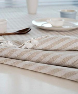 Bringsine Stripe Tassel Tablecloth Cotton Linen Stain Resistant Dust Proof Table Cloth Cover For Kitchen Dinning Tabletop Decoration RectangleOblong55 X 55 Inch Beige 0 4 300x360