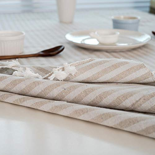 Bringsine Stripe Tassel Tablecloth Cotton Linen Stain Resistant Dust Proof Table Cloth Cover For Kitchen Dinning Tabletop Decoration RectangleOblong55 X 55 Inch Beige 0 4