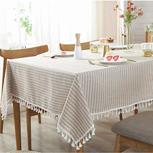 Bringsine Stripe Tassel Tablecloth Cotton Linen Stain Resistant Dust Proof Table Cloth Cover For Kitchen Dinning Tabletop Decoration RectangleOblong55 X 55 Inch Beige 0
