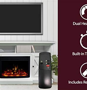 CAMBRIDGE 62 In Summit Farmhouse Style Deep Log Insert White CAM6215 1WHTLG3 Electric Fireplace Mantel 0 0 300x309