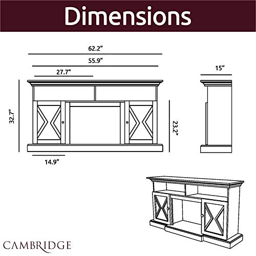 CAMBRIDGE 62 In Summit Farmhouse Style Deep Log Insert White CAM6215 1WHTLG3 Electric Fireplace Mantel 0 2