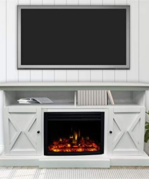 CAMBRIDGE 62 In Summit Farmhouse Style Deep Log Insert White CAM6215 1WHTLG3 Electric Fireplace Mantel 0 300x360