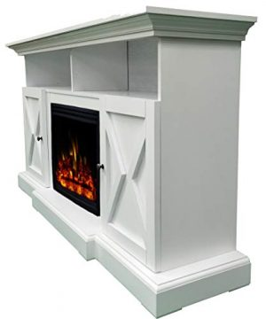 CAMBRIDGE 62 In Summit Farmhouse Style Deep Log Insert White CAM6215 1WHTLG3 Electric Fireplace Mantel 0 4 300x360