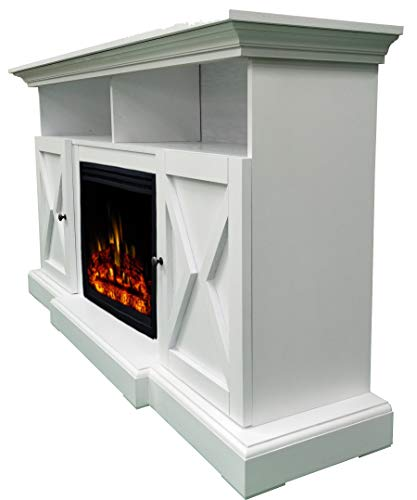 CAMBRIDGE 62 In Summit Farmhouse Style Deep Log Insert White CAM6215 1WHTLG3 Electric Fireplace Mantel 0 4