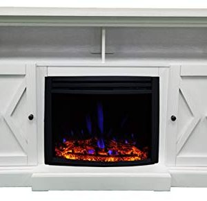 CAMBRIDGE 62 In Summit Farmhouse Style Deep Log Insert White CAM6215 1WHTLG3 Electric Fireplace Mantel 0 5 300x290