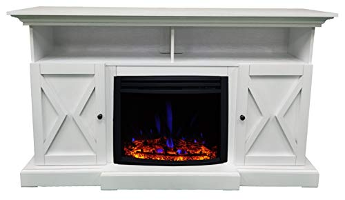CAMBRIDGE 62 In Summit Farmhouse Style Deep Log Insert White CAM6215 1WHTLG3 Electric Fireplace Mantel 0 5