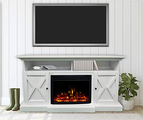 CAMBRIDGE 62 In Summit Farmhouse Style Deep Log Insert White CAM6215 1WHTLG3 Electric Fireplace Mantel 0