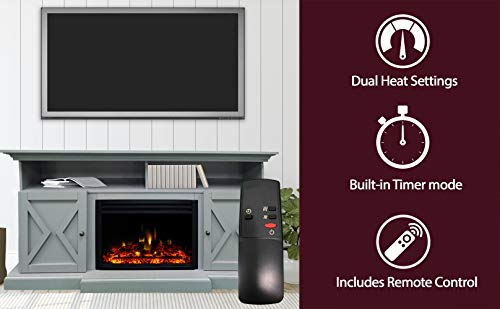 CAMBRIDGE 62 In Summit Farmhouse Style Deep Log InsertSlate Blue CAM6215 1SBLLG3 Electric Fireplace Mantel 0 0