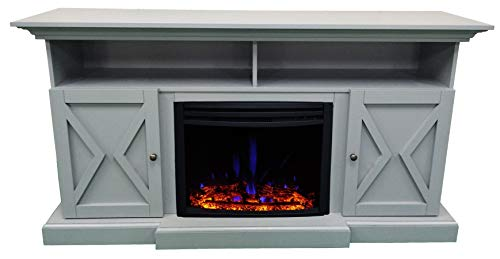 CAMBRIDGE 62 In Summit Farmhouse Style Deep Log InsertSlate Blue CAM6215 1SBLLG3 Electric Fireplace Mantel 0 1