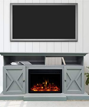 CAMBRIDGE 62 In Summit Farmhouse Style Deep Log InsertSlate Blue CAM6215 1SBLLG3 Electric Fireplace Mantel 0 300x360
