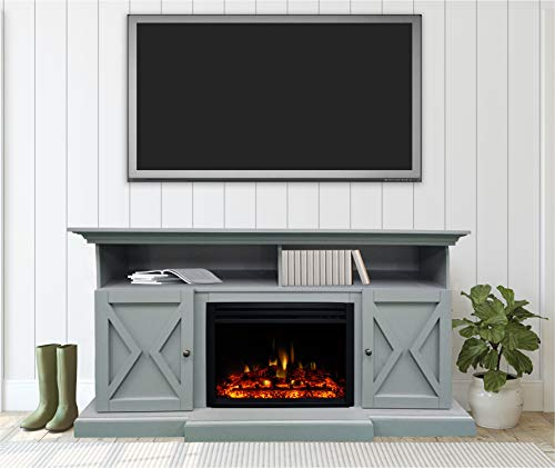 CAMBRIDGE 62 In Summit Farmhouse Style Deep Log InsertSlate Blue CAM6215 1SBLLG3 Electric Fireplace Mantel 0