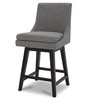 CHITA Counter Height Bar Stool Fabric Upholstered Swivel Stool With High Back Solid Wood Legs Fog 0 300x360